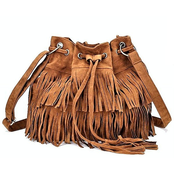 Women Handbag Faux Chamois Brown Color