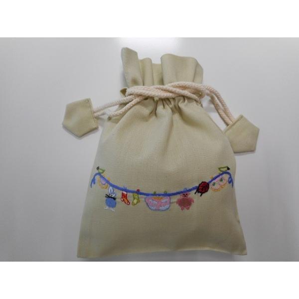 品番:Beyond-1676  巾着ポーチ  物干し(こども柄) / ベトナム刺繍