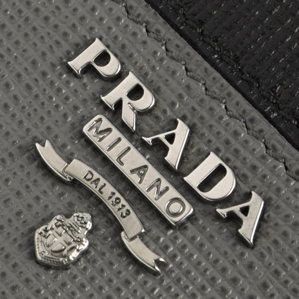 178006684eea ... プラダ キーケース メンズ サフィアーノ メタル SAFFIANO METAL ブラック&マーキュリーグレー 2PG222 QME F0R8F  PRADA ...