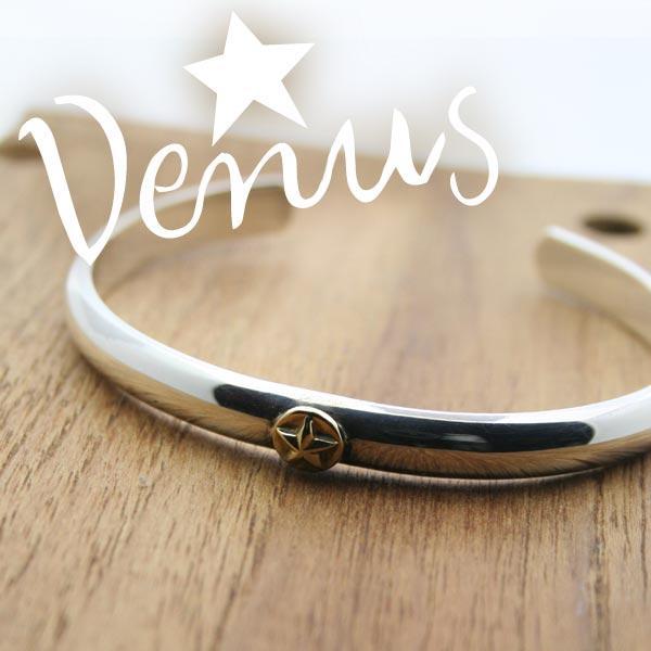 シルバー&K18ブレスレット 甲丸プレーン 星モチーフ Venus バングル 刻印可 silver925 メンズ レディース|bluelace