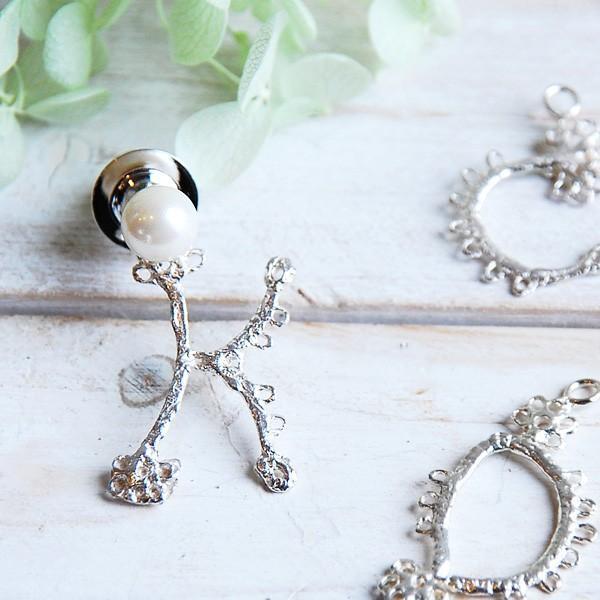 真珠ブローチ ピンブローチ あこや真珠 パール イニシャル ブローチ ラペルピンとチャームのセット|bluelace