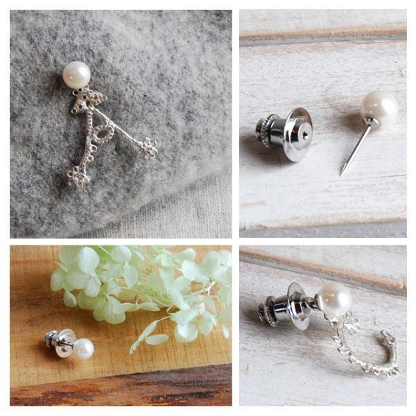 真珠ブローチ ピンブローチ あこや真珠 パール イニシャル ブローチ ラペルピンとチャームのセット|bluelace|03