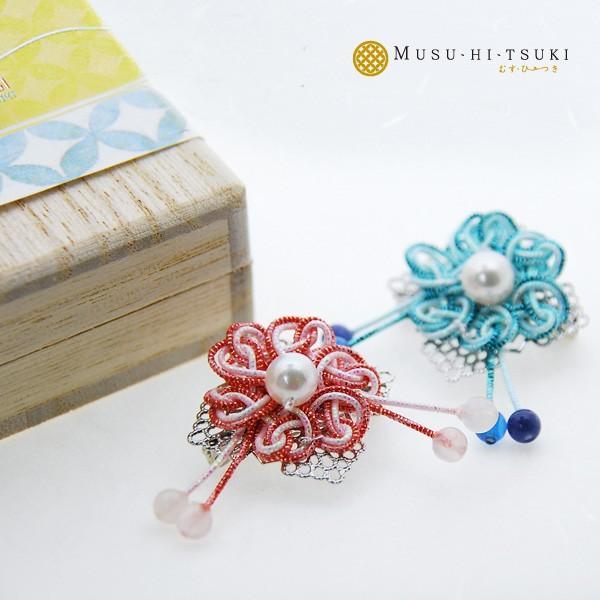 真珠ブローチ ピンブローチ レディース パール アコヤ真珠 水引 ピンバッジ 花 和風 1 bluelace