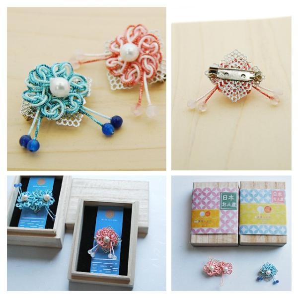 真珠ブローチ ピンブローチ レディース パール アコヤ真珠 水引 ピンバッジ 花 和風 1 bluelace 02