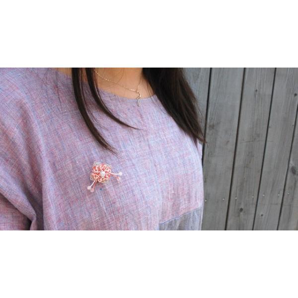 真珠ブローチ ピンブローチ レディース パール アコヤ真珠 水引 ピンバッジ 花 和風 1 bluelace 03