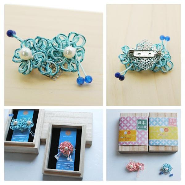 ピンブローチ レディース 真珠 アコヤ真珠 水引 ピンバッジ 花 和風 2|bluelace|02