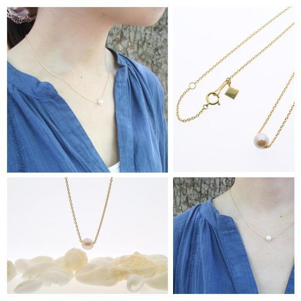 パール ネックレス 一粒 パールネックレス 真珠 あこや真珠 スルー 18金|bluelace|02