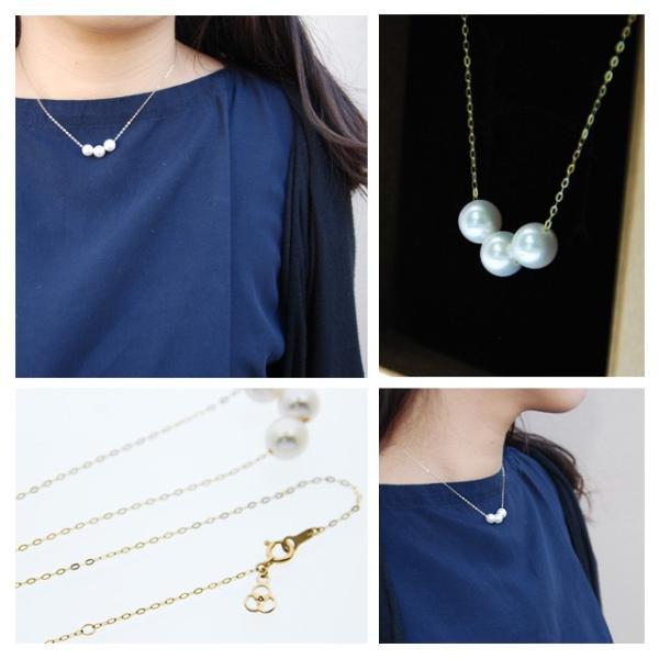 パールスルーネックレス パール 18金 3粒 アコヤ真珠 本真珠 7.5-8mm|bluelace|02