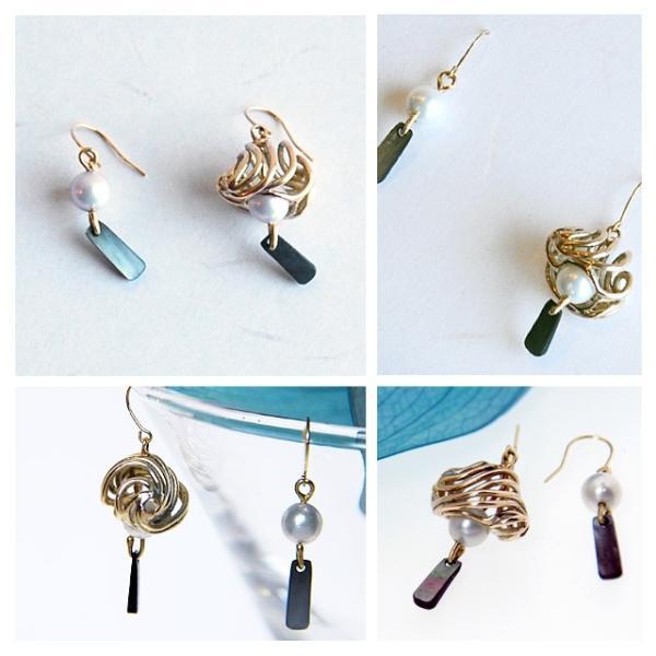 アコヤ真珠 ピアス 本物 あこや真珠 レディース 風鈴 和 アシンメトリー|bluelace|02