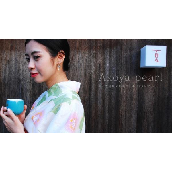 アコヤ真珠 ピアス 本物 あこや真珠 レディース 風鈴 和 アシンメトリー|bluelace|04