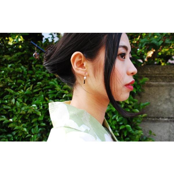 アコヤ真珠 ピアス 本物 あこや真珠 レディース 風鈴 和 アシンメトリー|bluelace|06