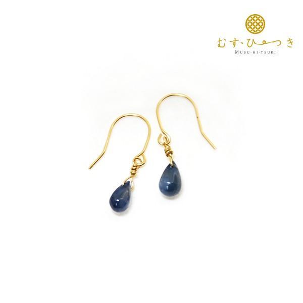 付け替え可能 ブルーサファイア 天然石ピアス K10|bluelace