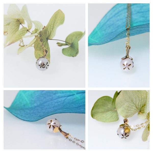 あこや真珠 ネックレス ペンダント ゴールド アコヤ真珠の一粒ペンダントトップ 本物 パール レディース うちわ 和アクセサリー|bluelace|02