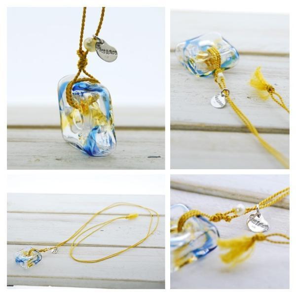 アロマペンダント ネックレス ガラス アロマデュフューザー 青 ガラス 淡水パール|bluelace|02