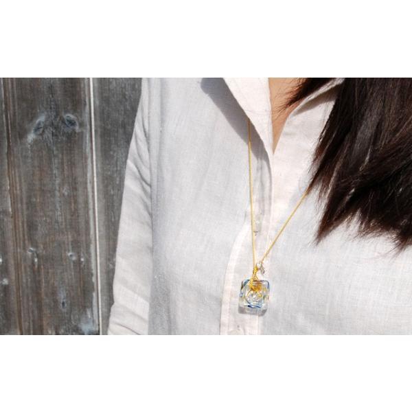 アロマペンダント ネックレス ガラス アロマデュフューザー 青 ガラス 淡水パール|bluelace|04