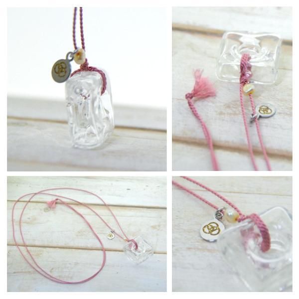 アロマペンダント ネックレス ガラス アロマデュフューザー 白 ガラス 淡水パール|bluelace|02