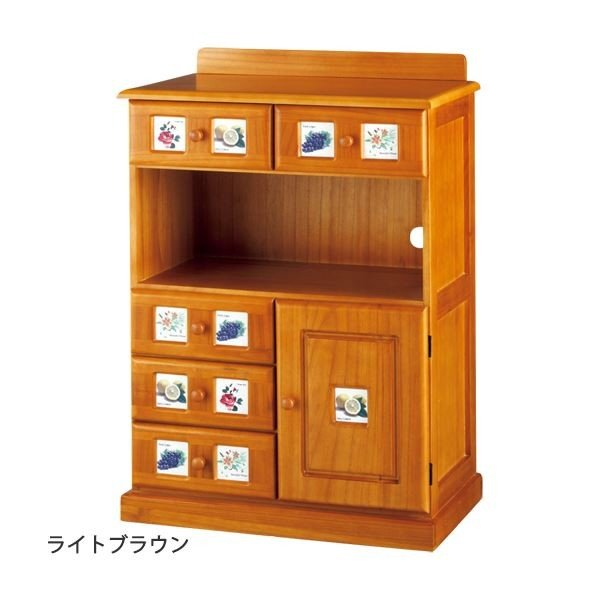 サイドボード/リビングボード (南欧風家具) 〔3: 幅60cm〕 木製 ホワイトウォッシュ 〔完成品〕