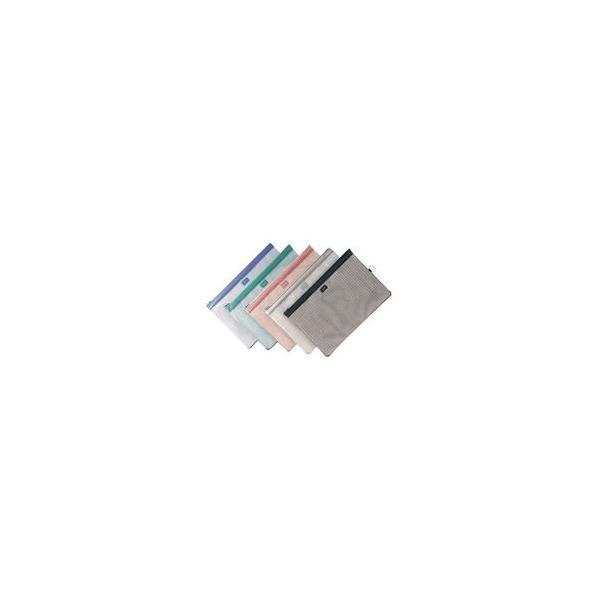 (業務用5セット) LIHITLAB メッシュケース/薄型ポーチ 〔B4〕 ジッパータイプ マチなし F-247 オフホワイト