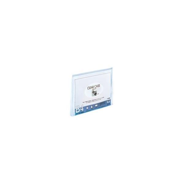 (業務用100セット) LIHITLAB クリアケース/クリアポーチ 〔B4/ワイドマチ付き〕 ヨコ型 F-75SM 白
