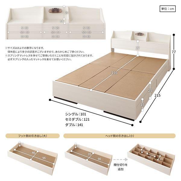 ベッド 日本製 収納付き 引き出し付き 木製 照明付き 棚付き 宮付き コンセント付き 『STELA』ステラ ブラック セミダブル 海外製ポケットコイルマットレス付き bluestyle 06