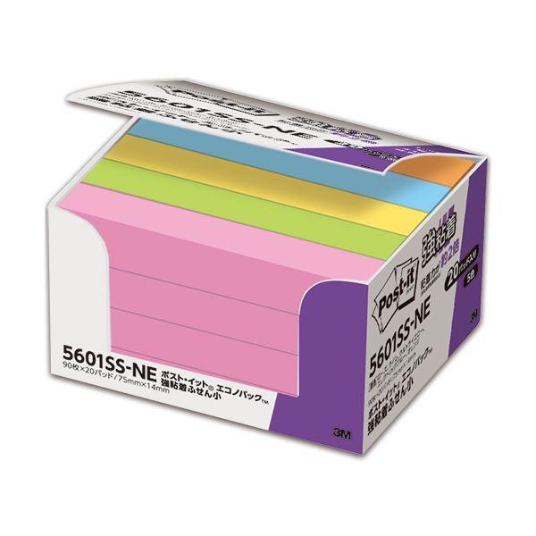 (まとめ) 3M ポスト・イット 強粘着エコノパック ふせん 小 75×14mm ネオンカラー 5色混色 5601SS-NE 1パック(20冊) 〔×5セット〕
