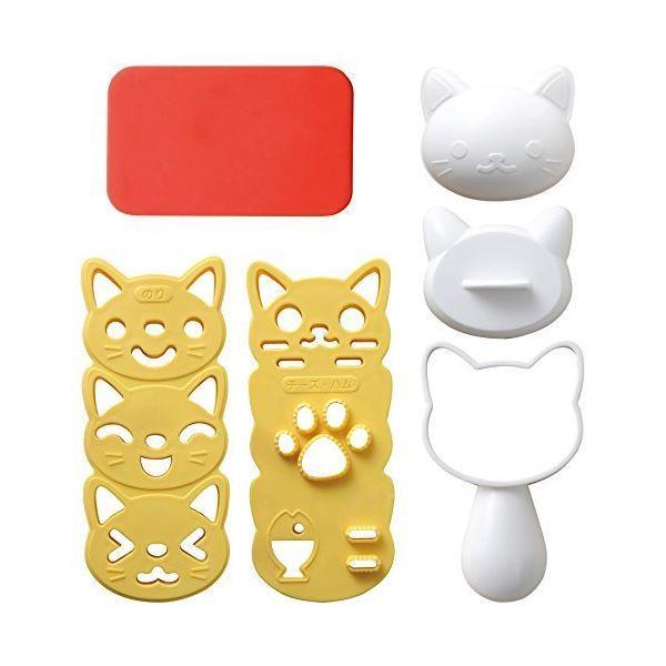 (まとめ) おむすびニャン/おにぎり型 〔ハンドル付き〕 ネコ キャラ弁 型抜き のりカッター 〔×60個セット〕