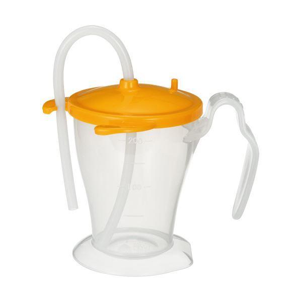 (まとめ)オオサキメディカル プラスハートベッド柵にも掛けられる ストローカップ オレンジ 250ml 1個〔×10セット〕
