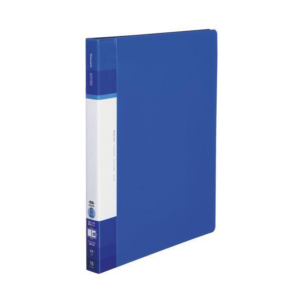 (まとめ)コクヨ クリヤーブック(Glassele) 替紙式・背ポケット A4タテ 30穴 15ポケット付属 背幅25〜39mm ブルー ラ-GLB720B 1冊 〔×5セット〕