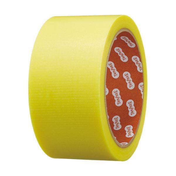 (まとめ)TANOSEE カラー養生テープ 50mm×25m 黄 1巻 〔×10セット〕