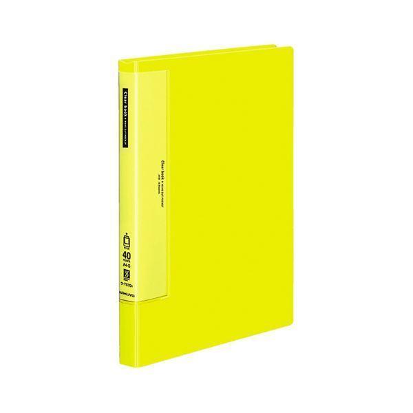 (まとめ)コクヨ クリヤーブック(ウェーブカットポケット・固定式) A4タテ 40ポケット 背幅27mm 黄 ラ-T570Y 1冊 〔×5セット〕