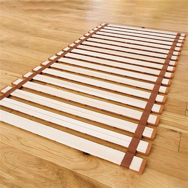薄型 軽量 桐 すのこベッド 無地 セミシングル ロール式 (フレームのみ) 防傷樹脂製クッション付 木製 通気性 〔布団別売〕