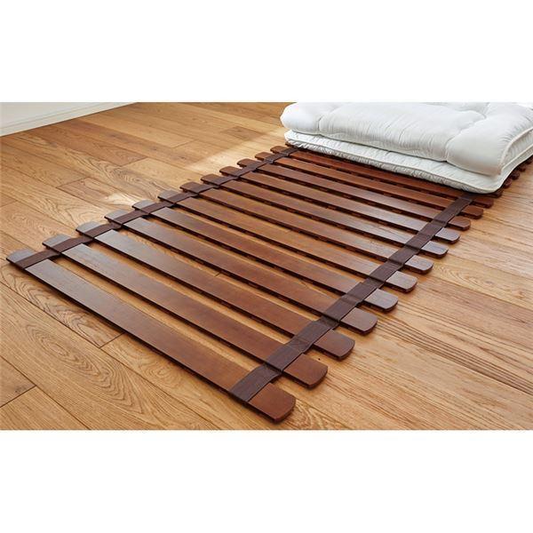 薄型 軽量 桐 すのこベッド ブラウン シングル ロール式 (フレームのみ) 防傷樹脂製クッション付 木製 通気性 〔布団別売〕