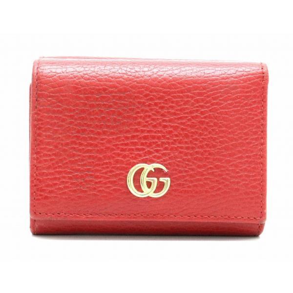 c33769c2d3f6 GUCCI グッチ GG プチマーモント マーモント 3つ折り財布 レザー レッド 赤 ゴールド金具 474746 (中古