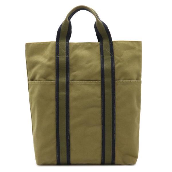 HERMESエルメスフールトゥカバストートバッグハンドバッグキャンバスオリーブグリーン緑ネイビー紺(中古)