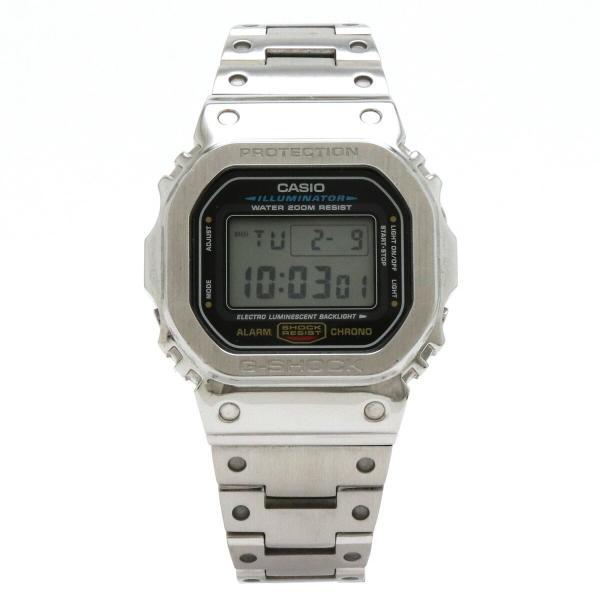 CASIOカシオG-SHOCKジーショックメタルカスタムデジタルシルバーメンズQZクォーツ腕時計DW-5600E(中古)