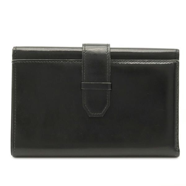 HERMESエルメスジュラ三つ折り財布3つ折り財布コンパクトウォレットボックスカーフブラック黒〇I刻印(中古)