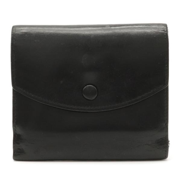 HERMESエルメス三つ折り財布3つ折り財布コンパクトウォレットボックスカーフブラック黒〇T刻印(中古)