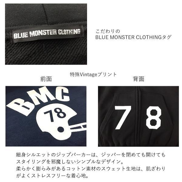 セール ジップパーカー メンズ 柔らかな裏毛コットン素材 オリジナルプリント グレー/ブラック黒 S-XL BMC bmc-tokyo 05