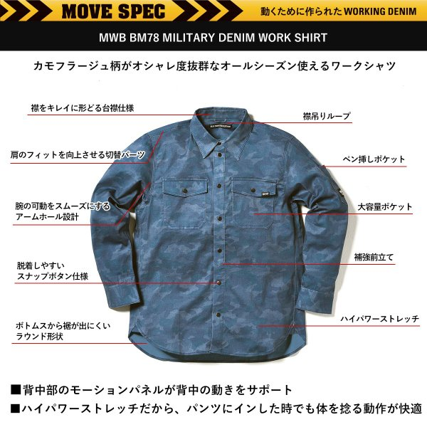 MWB×BMC ワークシャツ メンズ 長袖 ストレッチデニム 作業服カモフラージュ柄 ネイビー シルバーグレー M-3L|bmc-tokyo|03
