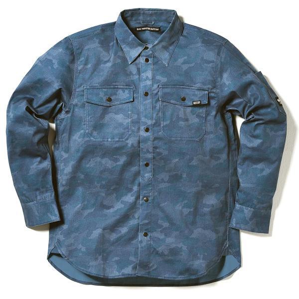 MWB×BMC ワークシャツ メンズ 長袖 ストレッチデニム 作業服カモフラージュ柄 ネイビー シルバーグレー M-3L|bmc-tokyo|06