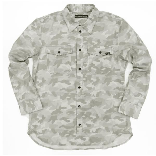 MWB×BMC ワークシャツ メンズ 長袖 ストレッチデニム 作業服カモフラージュ柄 ネイビー シルバーグレー M-3L|bmc-tokyo|07