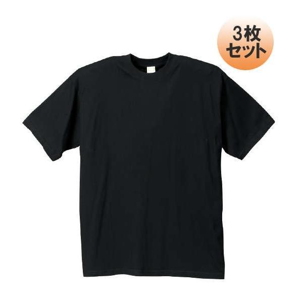 大きいサイズメンズクルーTシャツ3枚パックブラック1158-5180-23L4L5L6L7L8L