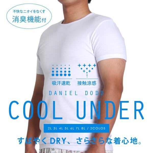 大きいサイズメンズ吸汗速乾接触涼感クールアンダークルーネック半袖肌着azu-16101