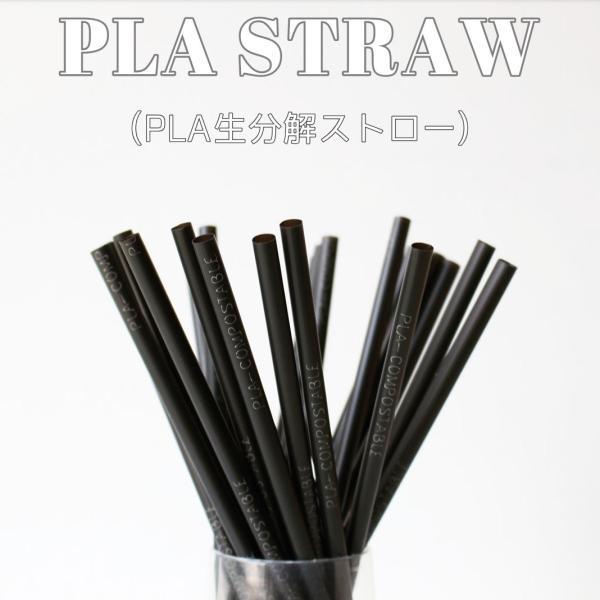 生分解 PLAストロー エコストロー ブラック 5000本|bmt-store