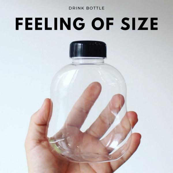 テイクアウト ドリンクボトル ボトル容器 400ml gourd 黒蓋 ボトルドリンク 100個セット|bmt-store|05