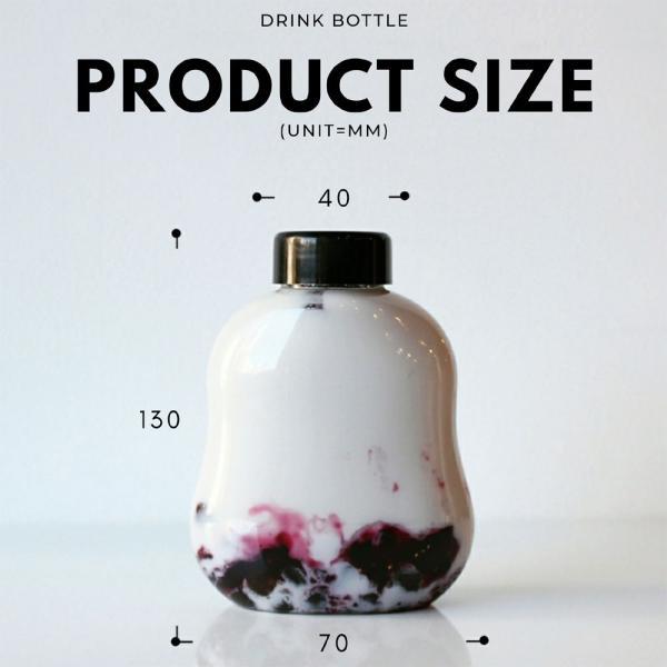 テイクアウト ドリンクボトル ボトル容器 400ml gourd 黒蓋 ボトルドリンク 100個セット|bmt-store|06