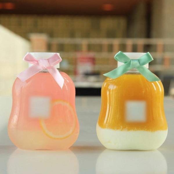 テイクアウト ドリンクボトル ボトル容器 400ml gourd 持ち手付 半透明蓋 ボトルドリンク 100個セット|bmt-store|18
