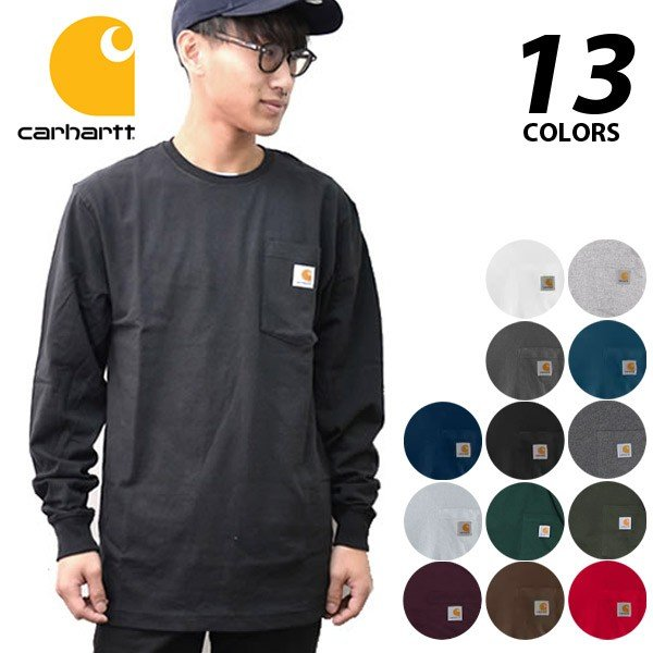 カーハート【carhartt】K126 メンズ トップス ロンT Long Sleeve Workwear Pocket T-Shirt  カットソー Tシャツ USサイズ 【1点のみメール便可】|bobsstore