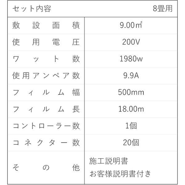 お手軽!!簡単!! PTC式電気床暖房 DIYセット 8畳用 「EXCEL床暖房シートPTC」200V用 フローリング材糊付け施工OK Wi-Fiコントローラー付き|body-create|12
