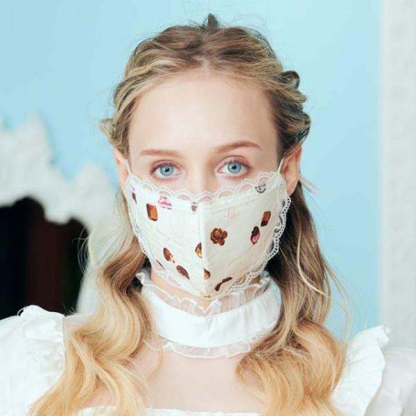 ロリィタ コスプレ レース付マスク マスク レース マスク チョコレート ゴスロリ マスク 衛生品|bodylinecojp